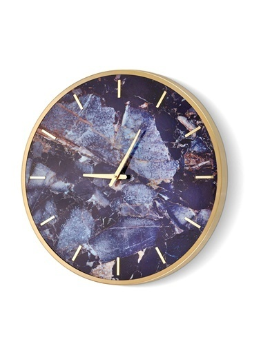 The Mia Duvar Saati Marble -  Mavi 60x60 cm Mavi
